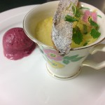Ginger creme with damson ice-cream and fig biscotti