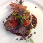 Roast beef, caramelised red onion and port jus and crispy prosciutto