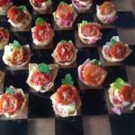 Filo tartlets of rare roast beef, english mustard mayonnaise and roast cherry tomatoes