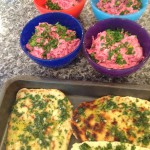 homemade herbed flatbreads with roast beetroot labneh